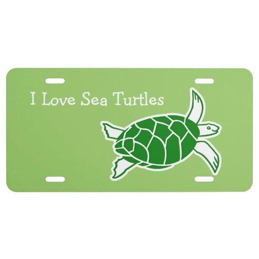 I Love Sea Turtles License Plates License Plate