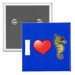 I Love Seahorses Button