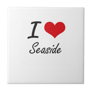 I Love Seaside Small Square Tile