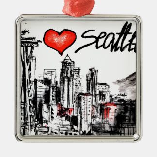 I love Seattle Christmas Ornament