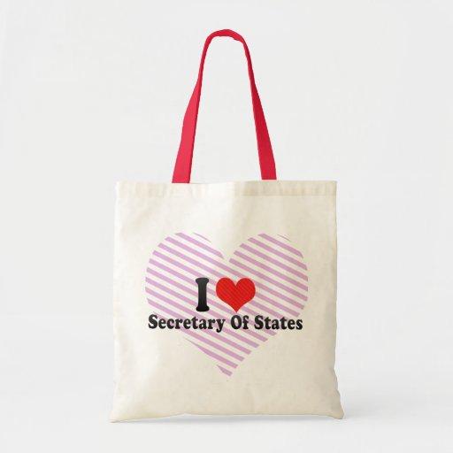I Love Secretary Of States Canvas Bags