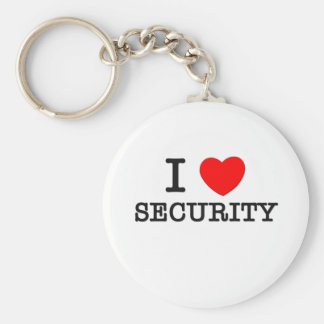 I Love Security Basic Round Button Key Ring