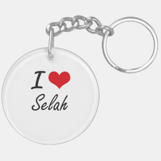 I Love Selah artistic design Double-Sided Round Acrylic Key Ring
