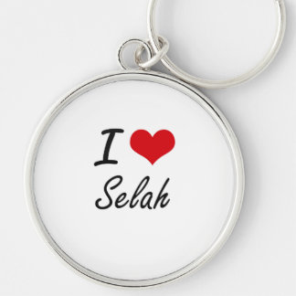 I Love Selah artistic design Silver-Colored Round Key Ring