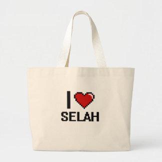 I Love Selah Digital Retro Design Jumbo Tote Bag