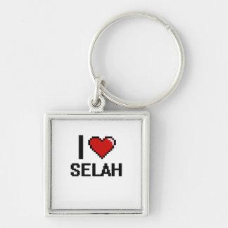 I Love Selah Digital Retro Design Silver-Colored Square Keychain