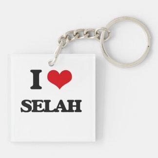 I Love Selah Double-Sided Square Acrylic Keychain
