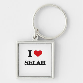 I Love Selah Silver-Colored Square Keychain