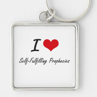 I Love Self-Fulfilling Prophecies Silver-Colored Square Key Ring