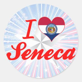 I Love Seneca Missouri Round Stickers