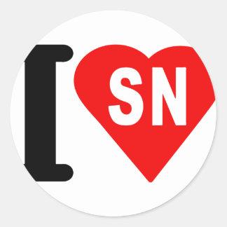 i_love_Senegal.png Classic Round Sticker