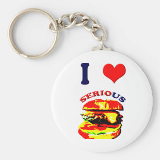 I Love Serious Burgers Basic Round Button Key Ring