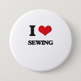 I Love Sewing 7.5 Cm Round Badge