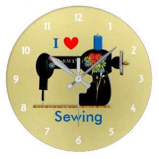I Love Sewing Vintage Sewing Machine Large Clock