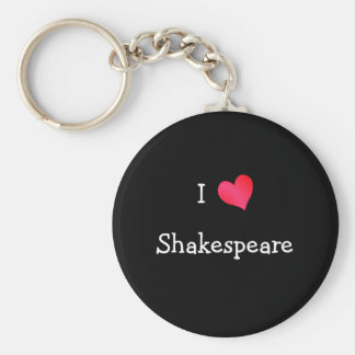 I Love Shakespeare Basic Round Button Key Ring