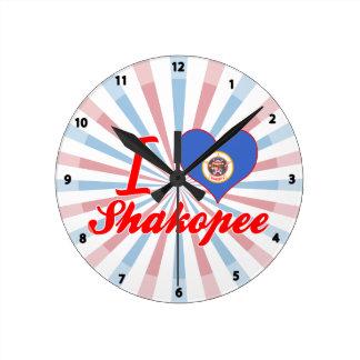 I Love Shakopee, Minnesota Wall Clocks