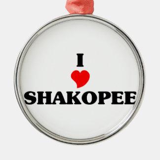 I love Shakopee Silver-Colored Round Decoration