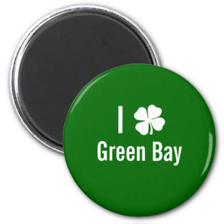 I love (shamrock) Green Bay St Patricks Day 6 Cm Round Magnet