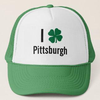 I love (shamrock) Pittsburgh St Patricks Day Trucker Hat