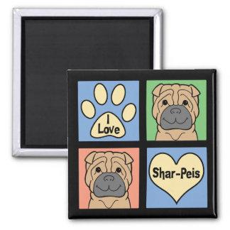 I Love Shar-Peis Square Magnet
