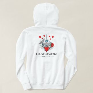 I love sharks mens hoodie