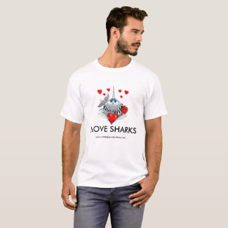 I love sharks mens tshirt