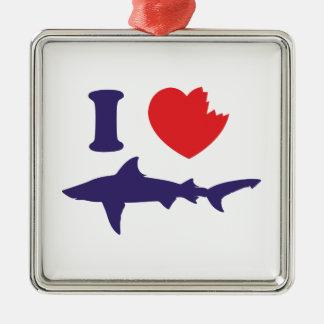 I Love Sharks Silver-Colored Square Decoration