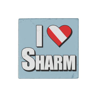 I Love Sharm Diving Stone Magnet