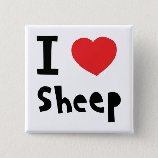 I love sheep 15 cm square badge