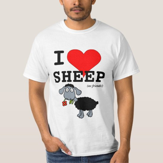 I Love Sheep (as friends) Big Red Heart