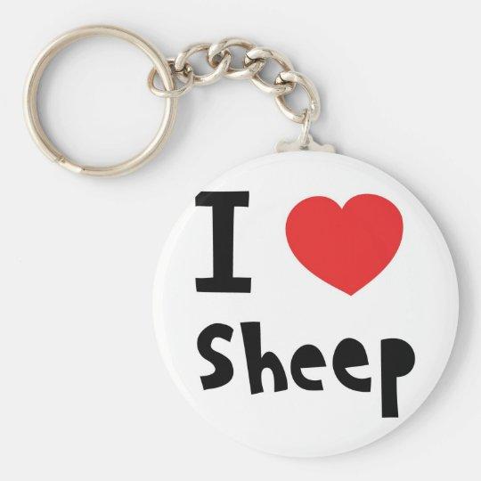 I love sheep basic round button key ring