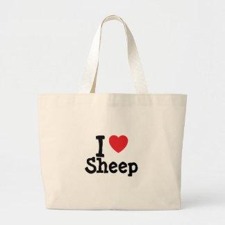 I love Sheep heart custom personalized Jumbo Tote Bag