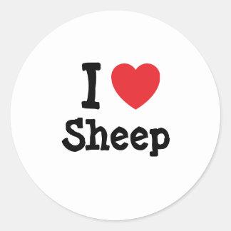 I love Sheep heart custom personalized Round Sticker