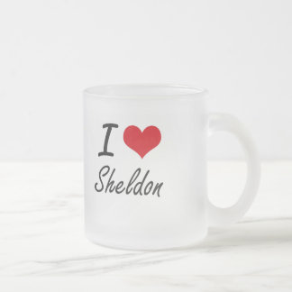 I Love Sheldon Frosted Glass Mug