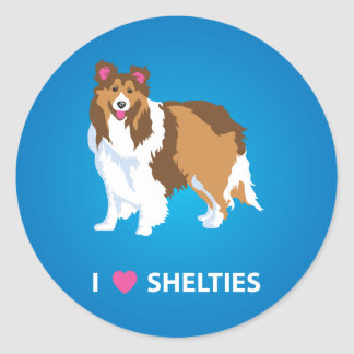 """I Love Shelties"" Round Circle Stickers Sheltie"