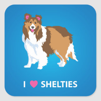 """I Love Shelties"" Square Stickers"