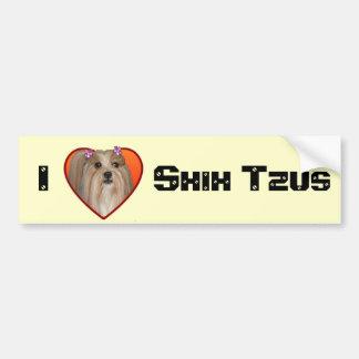 I Love shih tzus bumpersticker Bumper Sticker