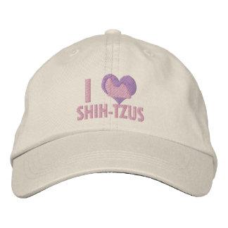 I Love Shih Tzus Pink Embroidered Hat
