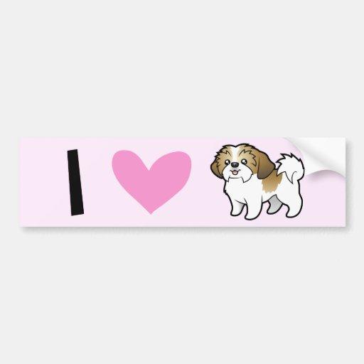 I Love Shih Tzus (puppy cut) Bumper Sticker