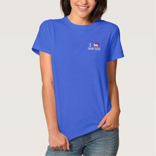 I Love Shih Tzus Women's Embroidered Shirt