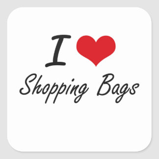 I Love Shopping Bags Square Sticker