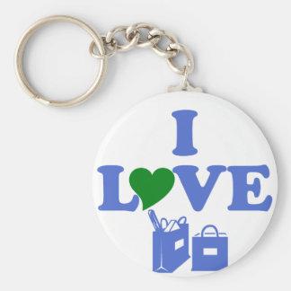 I Love Shopping Basic Round Button Key Ring
