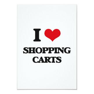 I Love Shopping Carts 3.5x5 Paper Invitation Card