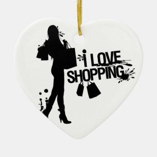 I Love Shopping Ceramic Heart Decoration