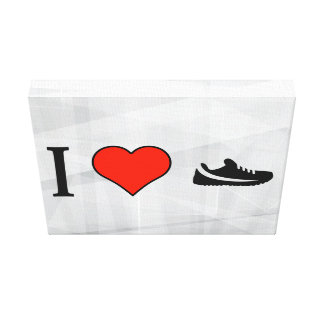 I Love Shopping For Running Shoes Stretched Canvas Prints