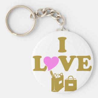 I Love Shopping Keychain