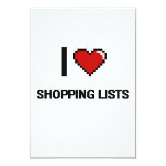 "I Love Shopping Lists Digital Retro Design 3.5"" X 5"" Invitation Card"