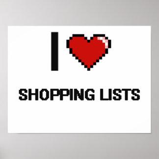 I Love Shopping Lists Digital Retro Design Poster