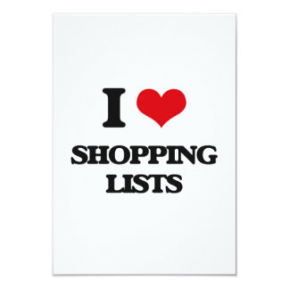 "I Love Shopping Lists 3.5"" X 5"" Invitation Card"