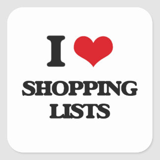 I Love Shopping Lists Stickers